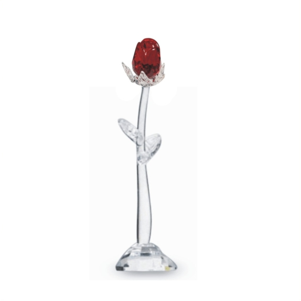 Crystal Standing Red Rosebud 5 1/2""