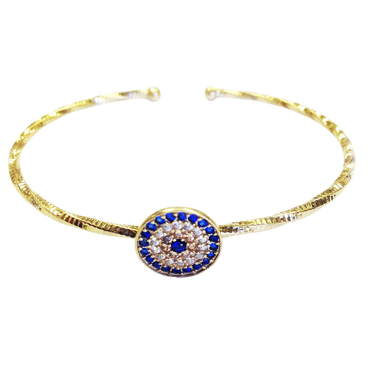 Sterling Silver Evil Eye Charm Bangle 9345