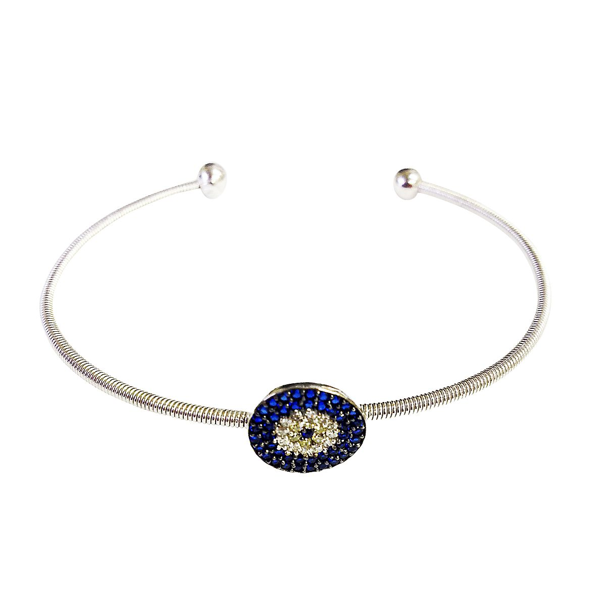 Sterling Silver Evil Eye Bangle CMB20159352