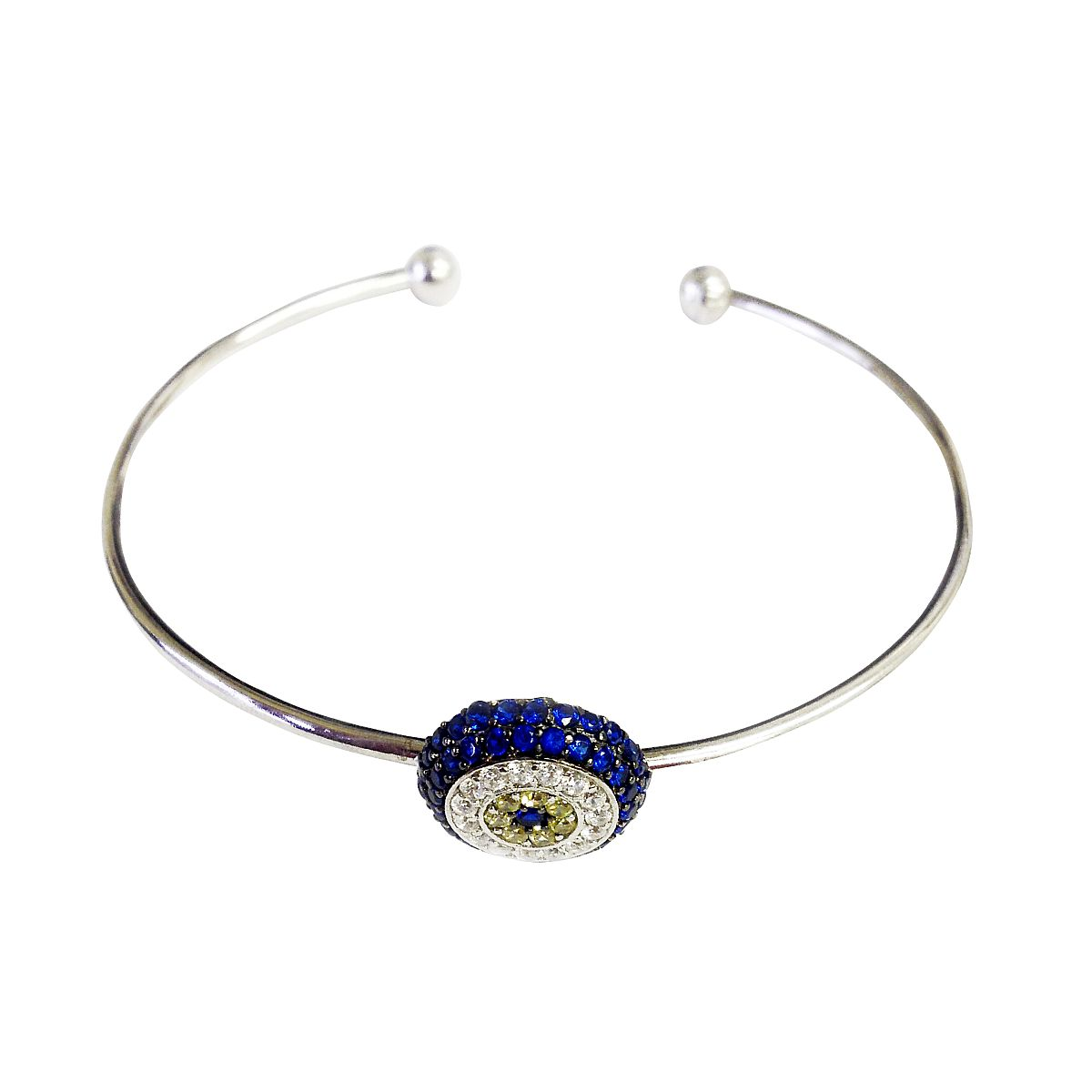 Sterling Silver Evil Eye Bangle CMB20159353