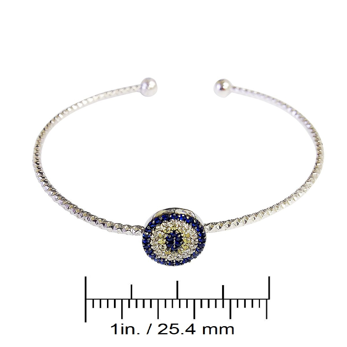 Sterling Silver Evil Eye Bangle CMB20159357