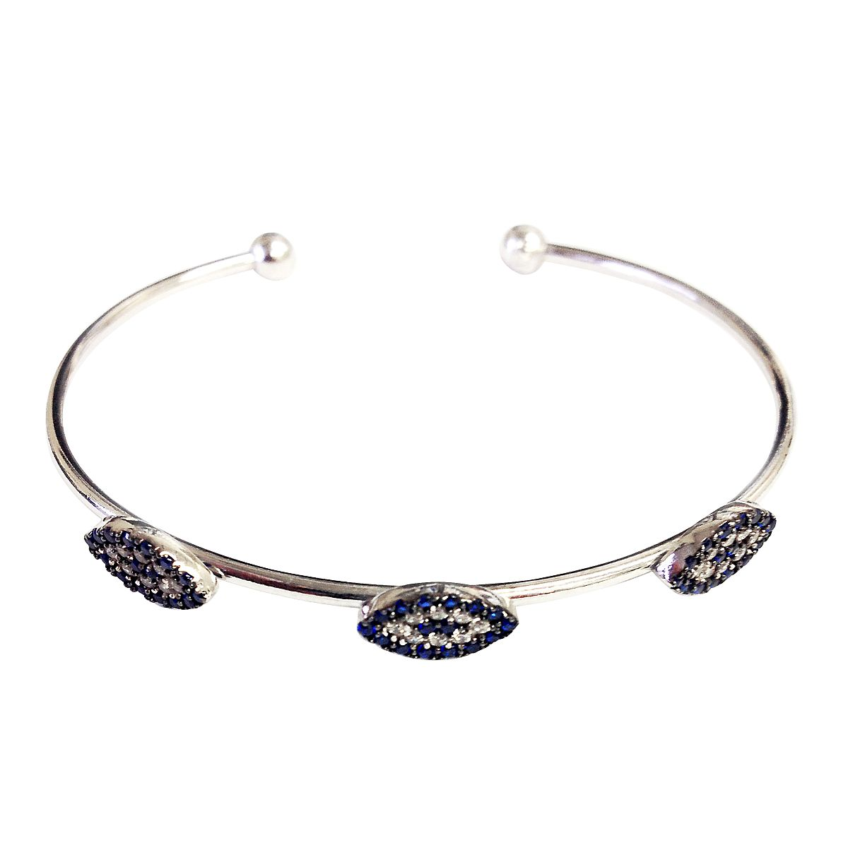 Sterling Silver Evil Eye Bangle CMB20159359
