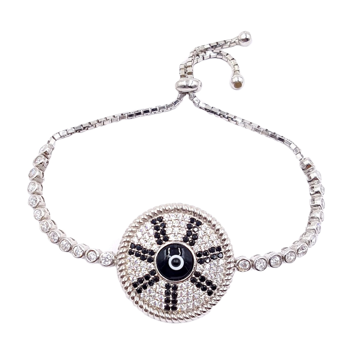 #9374 Evil Eye High Quality 925 Sterling Silver Shield Bracelet