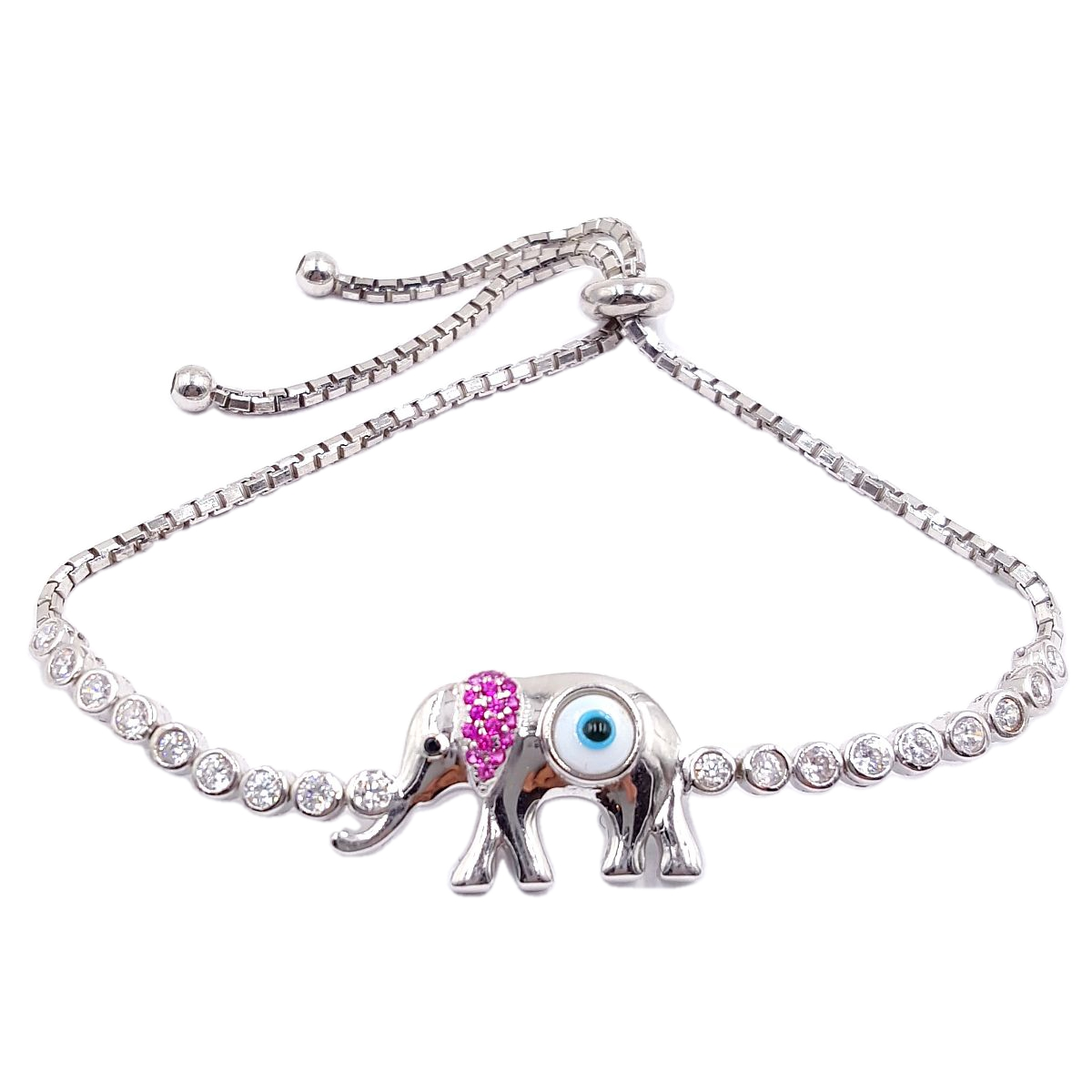 Evil Eye High Quality 925 Sterling Silver Elephant Bracelet