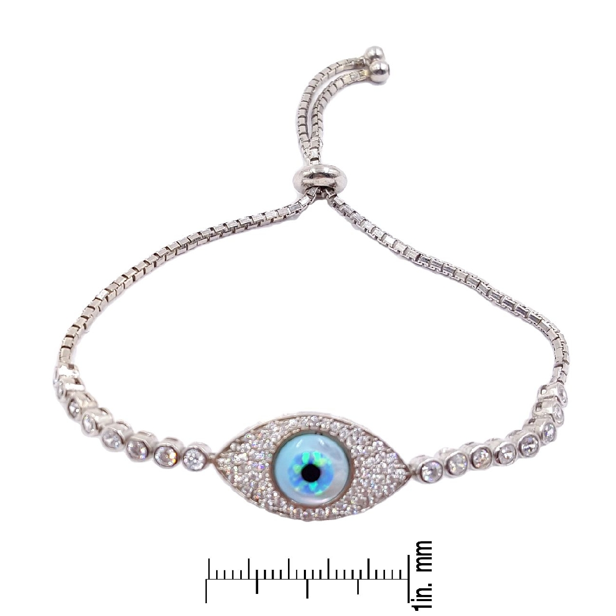 #9382 Evil Eye High Quality 925 Sterling Silver Bracelet