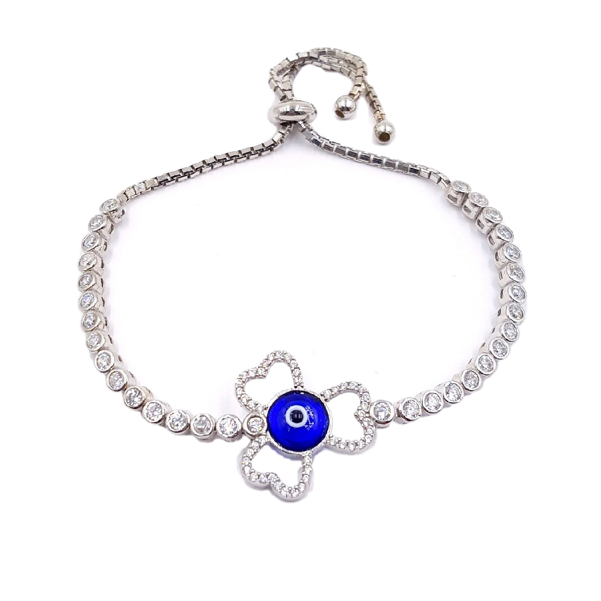 #9393 Evil Eye High Quality 925 Sterling Silver Three Leaf Clov