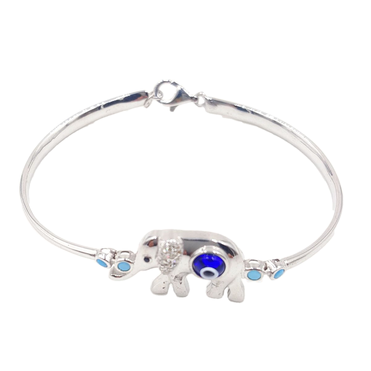 #9400 Evil Eye High Quality 925 Sterling Silver Elephant Bracele