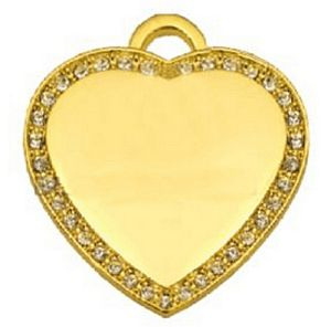 Gold Plated CZ Medium Heart Dog Tag Engravable Pendant