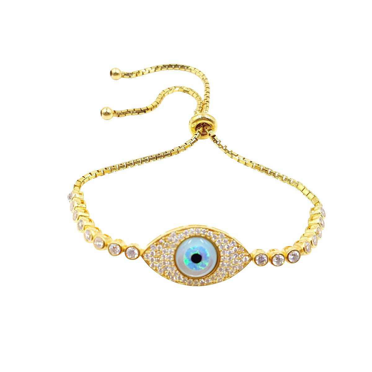 Gold over Sterling Silver Evil Eye Bracelet CMB20159382-3