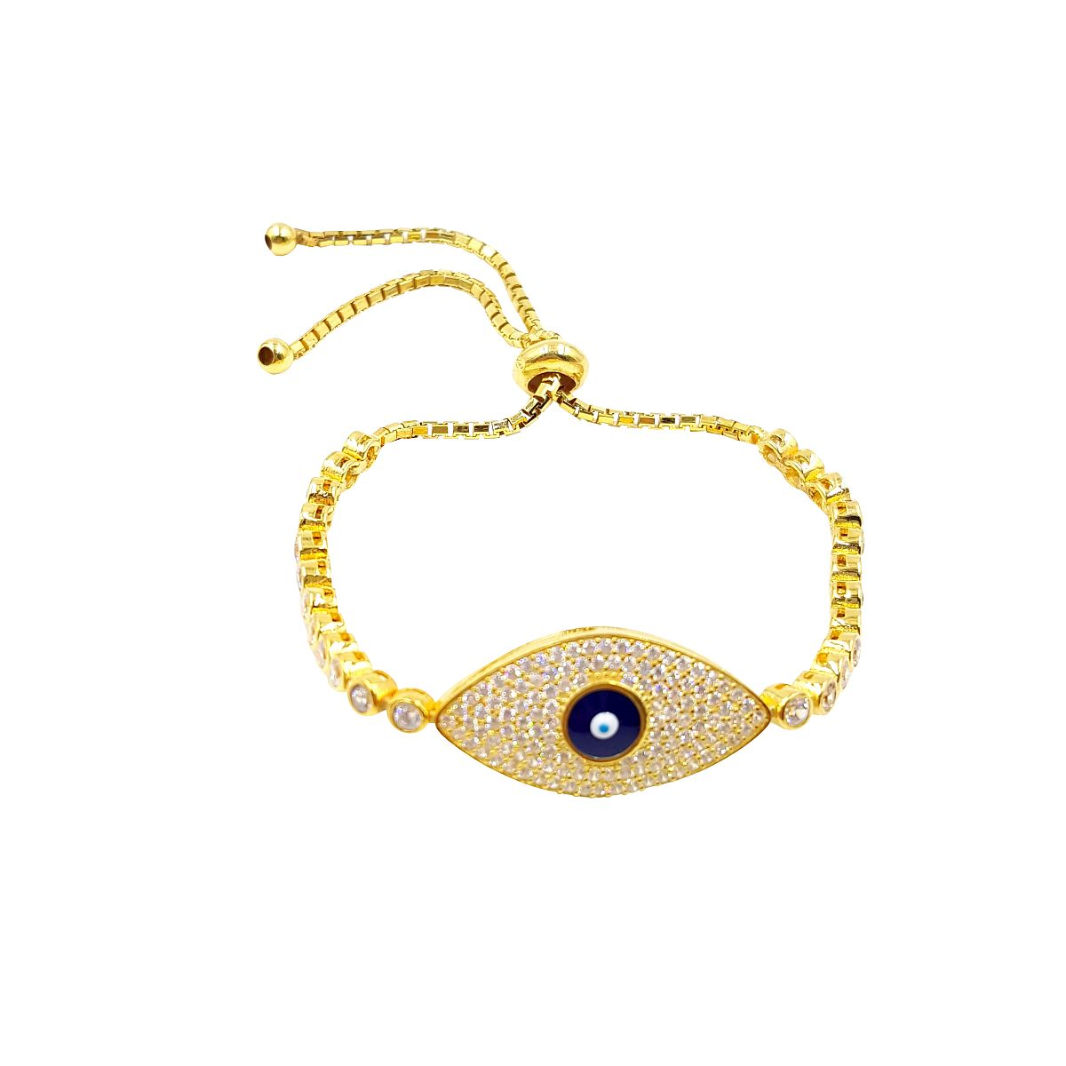 Gold over Sterling Silver Evil Eye Bracelet CMB20159383-3