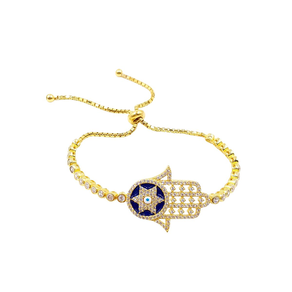 Gold over Sterling Silver Evil Eye Bracelet CMB20159396-3